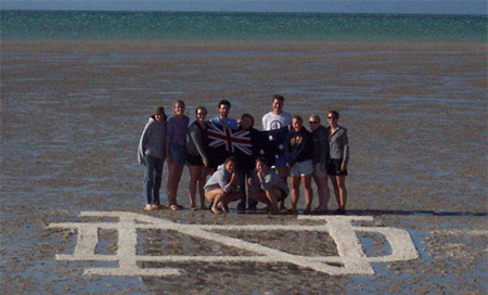 Students from Notre Dame's Perth program at Shell Beach / Coral Bay
